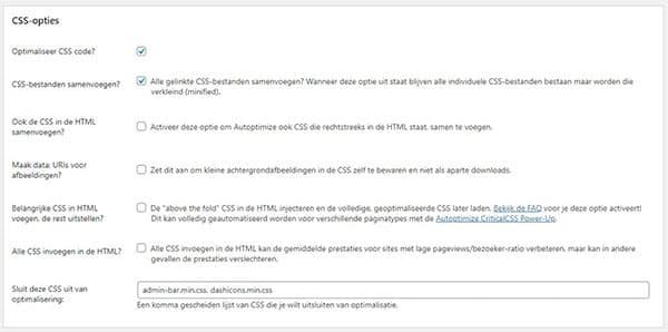 CSS verkleinen AutoOptimize